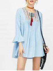 Embroidery Flare Sleeve Tassels Mini Dress