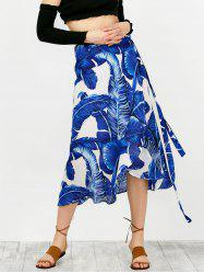 High Waisted Feather Print Wrap Skirt