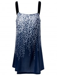 Plus Size Sparkly Mini Slip Dress - BLUE/WHITE 5XL