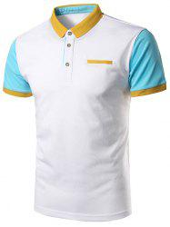 Faux Pocket Color Block Cotton Polo Shirt