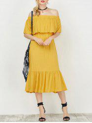 Off The Shoulder Flounce Tea Length Dress