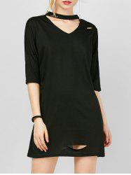 Choker Mini Distressed Shift T-shirt Dress