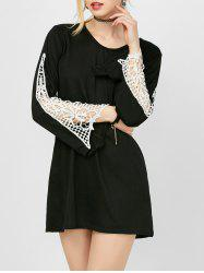Crochet Panel Long Sleeve Mini Dress