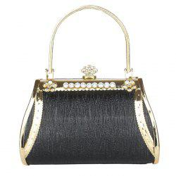 Metal Trim Hollow Out Evening Bag - BLACK