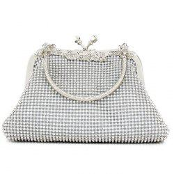 Kiss Lock Rhinestone Evening Bag - SILVER