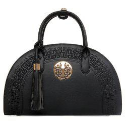Semicircle Embroidered Tassel Handbag - BLACK