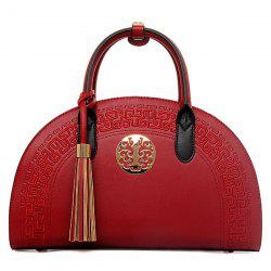 Semicircle Embroidered Tassel Handbag - RED