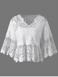 Floral Cutwork Sheer Blouse -
