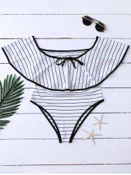 Halter Stripe Ruffle One Piece Swimwear