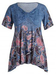 Plus Size Paisley V Neck Asymmetric T-Shirt