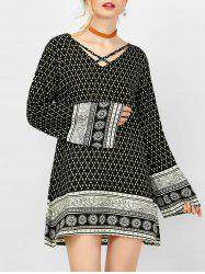 Geometric Criss Cross Tribal Long Sleeve Dress