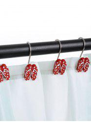 12 Pcs Beach Polka Dot Flip Flops Shaped Shower Curtain Hooks - RED