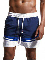 Color Block Panel Zipper Pockets Swimming Shorts - CERULEAN