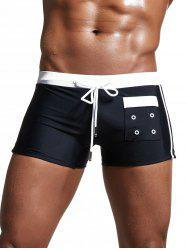 Pocket Embellished Lace Up Swimming Trunks