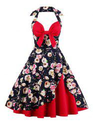 Corset Halter Vintage Floral Polka Dot Tea Dress