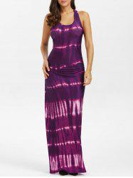Bohemian Tie-Dye Illusion Print Racerback Long Tank Dress -