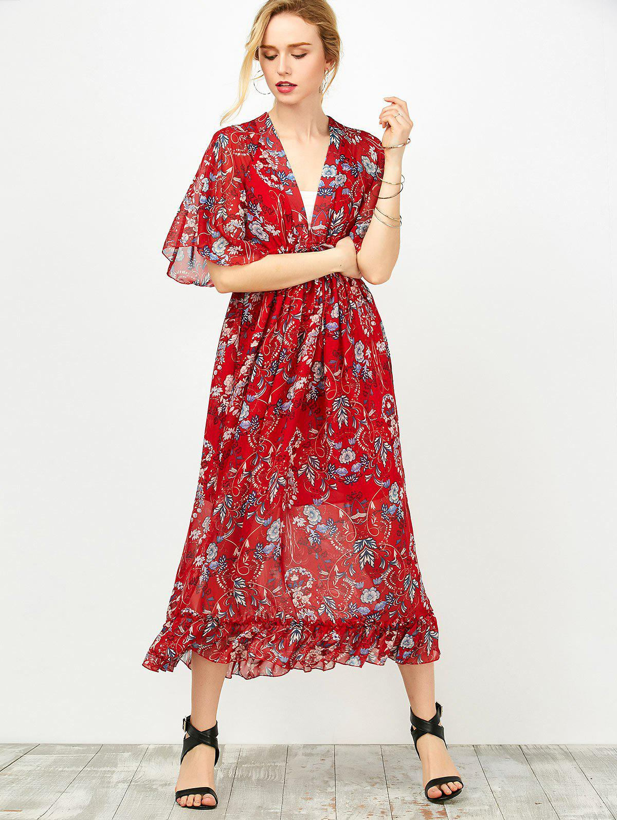 Trendy Maxi Floral Printed Empire Waist Dress With Tube Top