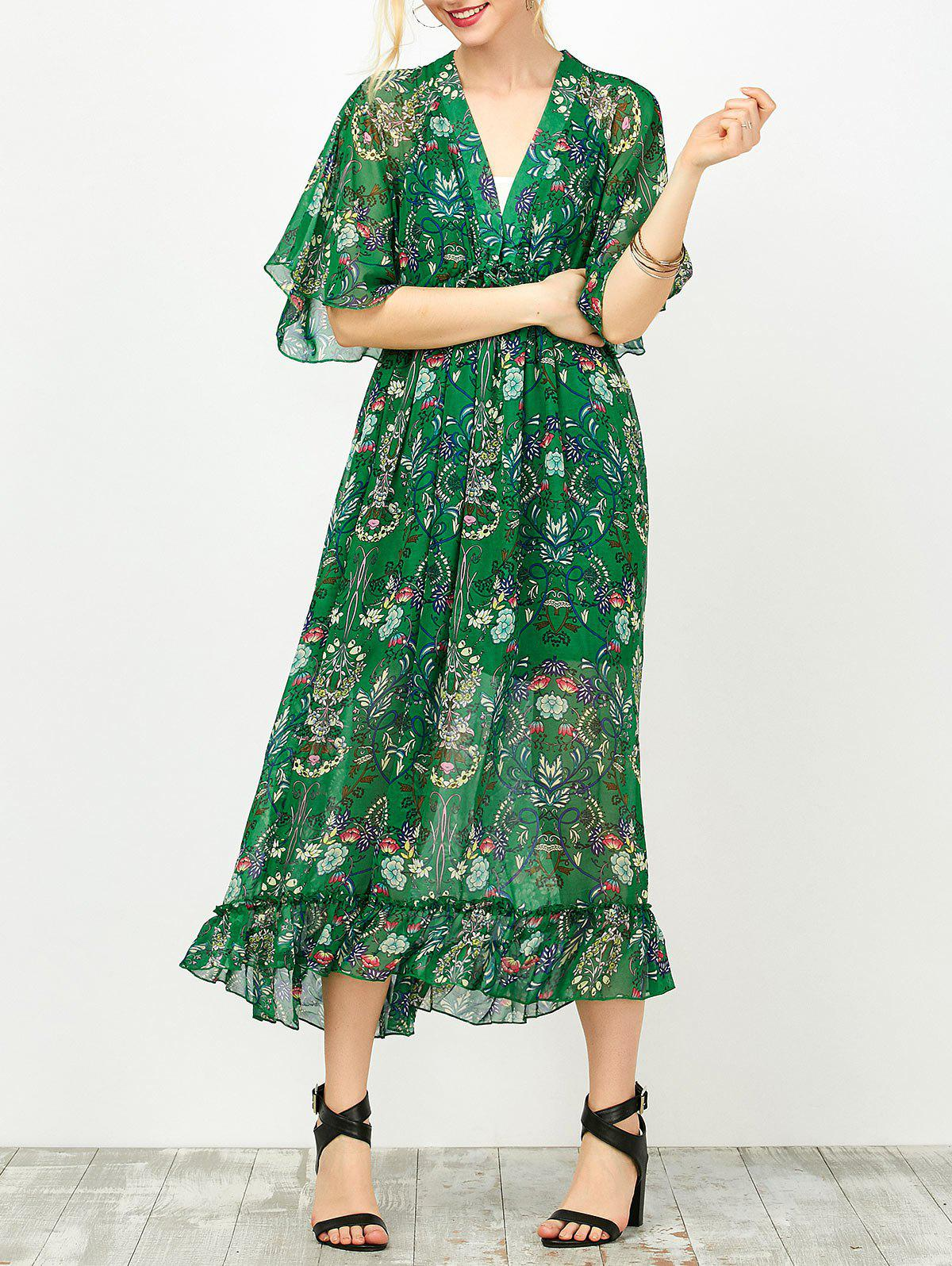 Fancy Maxi Floral Printed Empire Waist Dress With Tube Top