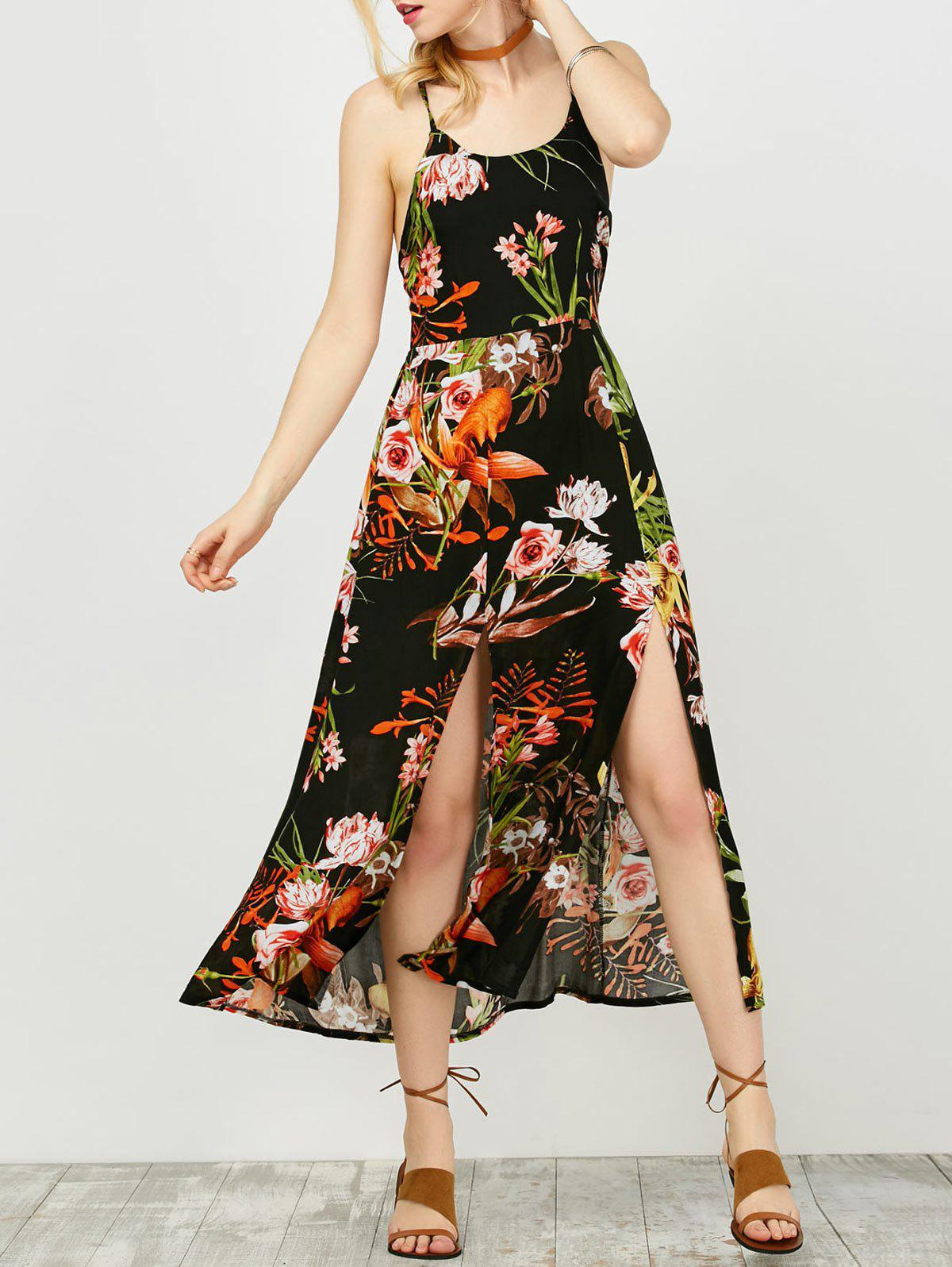 Outfits Backless Floral Long Summer Dress with Slit