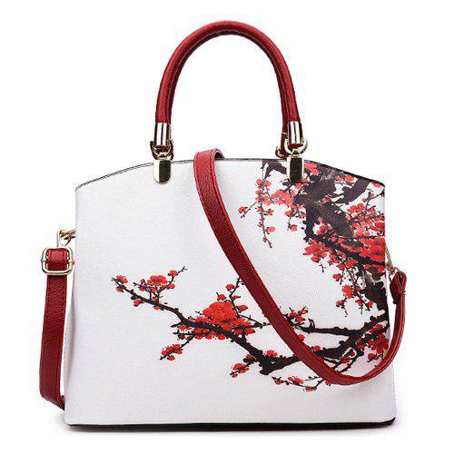 Online Metal Detail Flower Printed Handbag