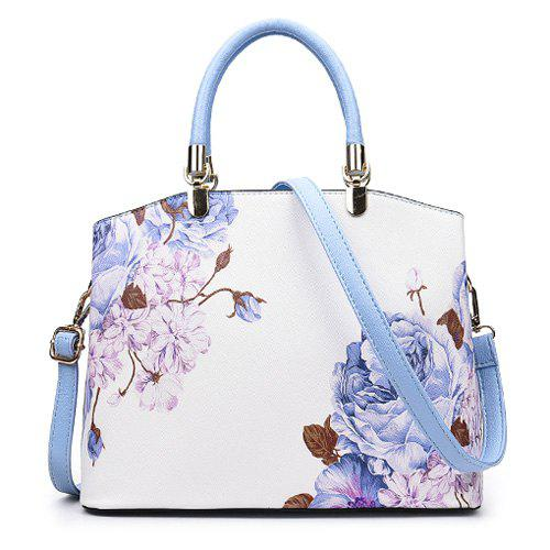 Latest Metal Detail Flower Printed Handbag