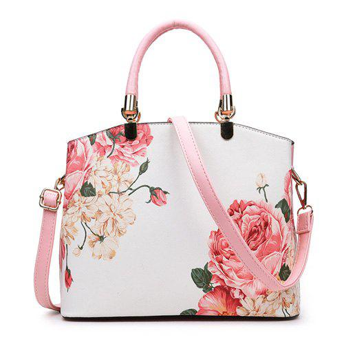 30 Off Metal Detail Flower Printed Handbag Rosegal