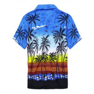 Coconut Tree Printed Short Sleeve Hawaiian Shirt -