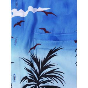 Coconut Tree Printed Hawaiian Shirt - BLUE L