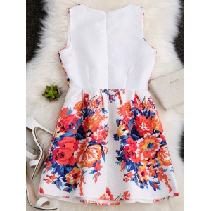 A Line Floral Printed Skater Dress - WHITE XL