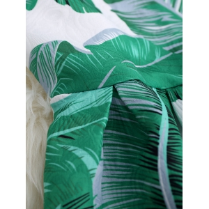 Palm Leaf Print A Line Hawaiian Skater Dress - LEAF GREEN XL