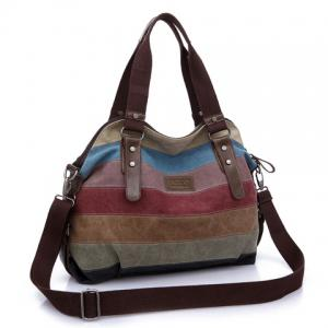 Buckle Strap Striped Canvas Bag - BROWN