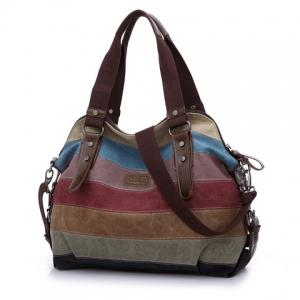 Buckle Strap Striped Canvas Bag -