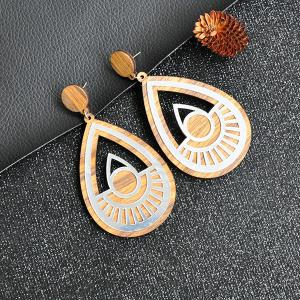 Wooden Teardrop Hollow Out Drop Earrings