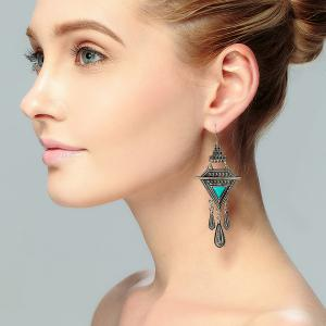 Bohemian Triangle Fringed Faux Turquoise Drop Earrings - Silver