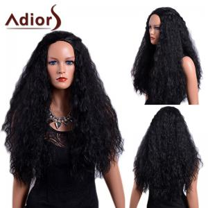 Adiors Long Fluffy Curly Capless Synthetic Wig - Black