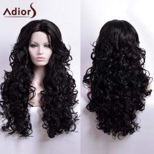 Adiors Long Curly Middle Part Capless Synthetic Wig - Black - 24inch