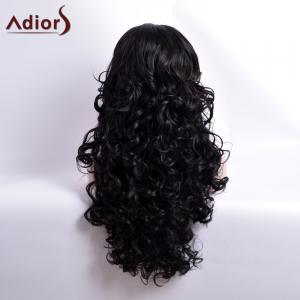 Adiors Long Curly Middle Part Capless Synthetic Wig - BLACK