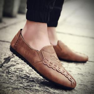 Faux Leather Elastic Casual Shoes