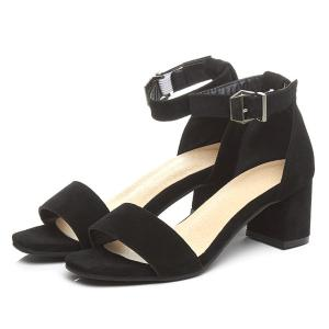 Block Heel Ankle Strap Suede Sandals - BLACK 37