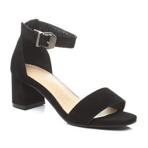 Block Heel Ankle Strap Suede Sandals - Black - 37