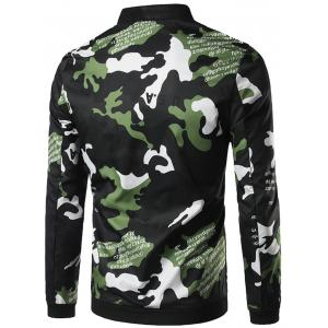 Zip Up Graphic Print Camo Jaket -