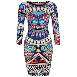 Slim Fit Geometric Print African Print Bodycon Dresses - Blue - S