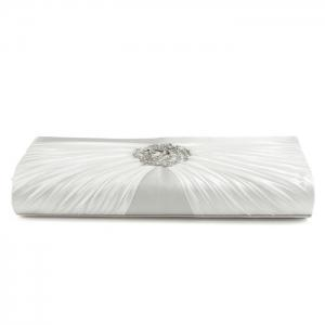 Pleated Rhinestone Satin Evening Bag -