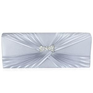 Satin Twist Pleated Clutch Evening Bag - Silver
