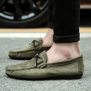 Metal Embellishment Suede Casual Shoes -