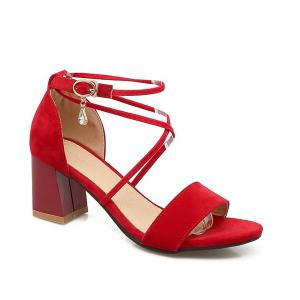 Rhinestone Block Heel Sandals - Red - 38