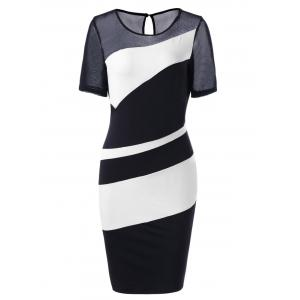 Bodycon Midi Mesh Pencil Dress - White And Black - 2xl
