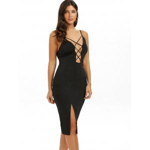 Backless Slip Cut Out Midi Bodycon Dress -