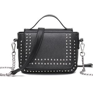 Rivet Chains Flap Crossbody Bag - Black - 5xl