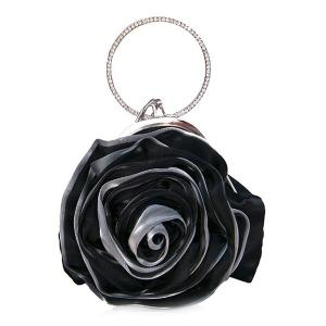 Satin Flower Metal Ring Evening Bag - Black